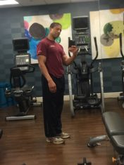 Fitness on the road at hotel gym in Dulles, VA.